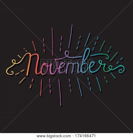 November month lettering calligraphy on black background