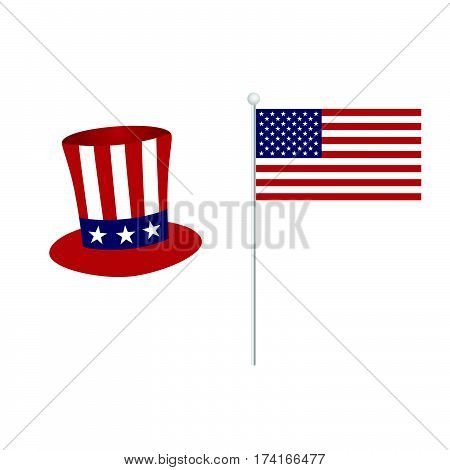 American Flag With Hat Icon Color Illustration