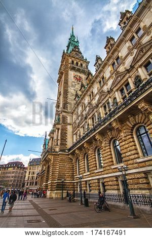HAMBURG GERMANY - JUNE 10: Front view of the famous town hall in Hamburg Germany in sunny summer day in 2012
