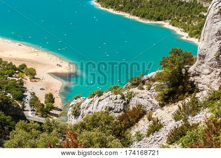 Aerial glimpse of the lake of Sainte Croix in Provence (France)