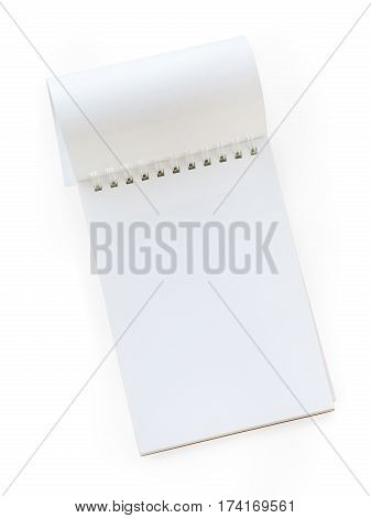 Blank spiral notepad with turned page. Top view isolated on white clipping path included