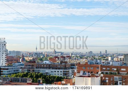 Madrid panoramic arial view from rooftop at sunny day