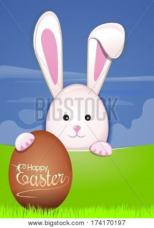 Cute Easter bunny with Easter eggs. Easter background with spring landscape. Easter greeting card. Vector illustration