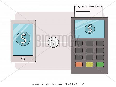 Illustration of mobile payment via smartphone.  Line contour  smartphone doing payment by credit card wireless connecting to the payment terminal