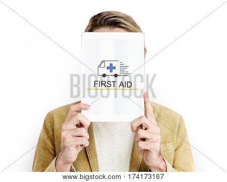 Emergency Ambulance Vehicle Healthcare Icon Word