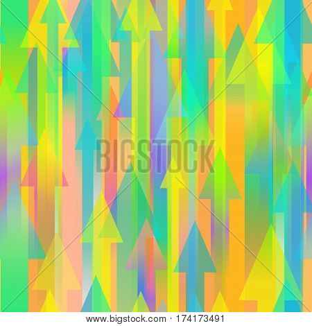 Seamless colourful vector background with many different sized arrows
