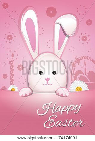 Cute Easter bunny on a pink background. Happy Easter. Symbol of Easter celebrations. Easter Bunny cute cartoon animal flat vector illustration
