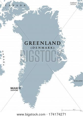 Greenland political map with capital Nuuk and neighbor countries. Autonomous country and part of Kingdom of Denmark in North Atlantic. Gray illustration, English labeling, isolated over white. Vector.