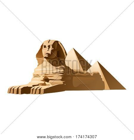 Vector illustration Egyptian sphinx made in a realistic style