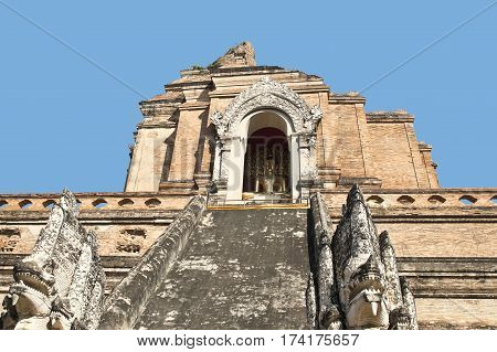 AMPHOE MUEANG CHIANG MAI / THAILAND - FEBRUARY 2 2017 : Buddha statue are enshrined on four sides of the great chedi in Wat Chedi Luang Varavihara