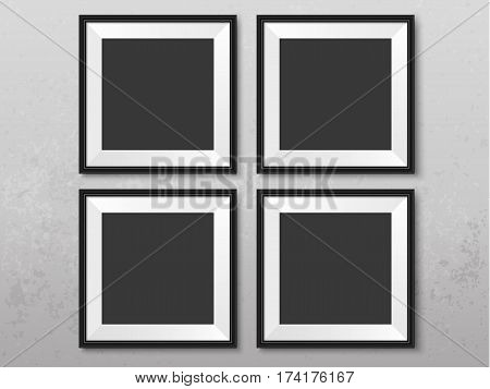 Frames wall gallery on grunge grey wall. Black photoframes mockup. Empty framing for your design. Vector picture mock up template for painting drawing poster quote or photo.