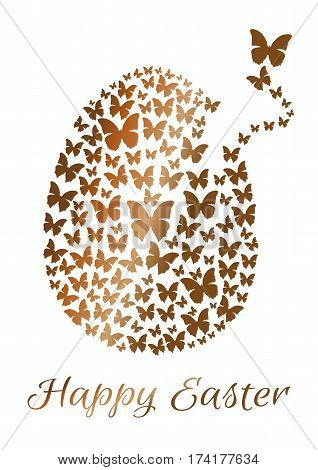 Gold Easter egg consists of flying butterflies isolated on a white background. Design element for Easter. Flock of butterflies in the shape of Easter egg. Happy Easter. Vector greeting card poster