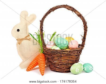 Easter Decor Isolated On A White Background: Egg Fill Basket, Rustic Burlap Bunny And Twine Carrots