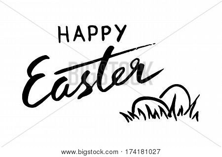 Happy Easter lettering card. Hand drawn lettering poster for Easter. Ink illustration. Brush pen. effect. Modern cursive calligraphy festive eggs. Greeting card text template
