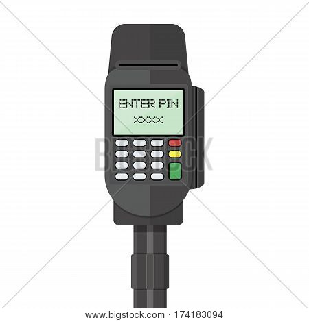 POS terminal, pinpad, keypad. Vector illustration in flat style