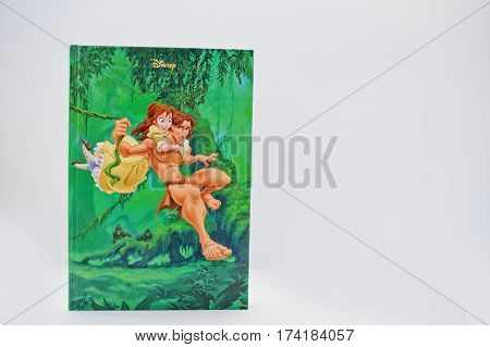 Hai, Ukraine - February 28, 2017: Animated Disney Movies Cartoon Production Book Tarzan On White Bac