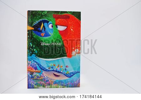 Hai, Ukraine - February 28, 2017: Animated Disney Pixar Movies Cartoon Production Book Finding Dory