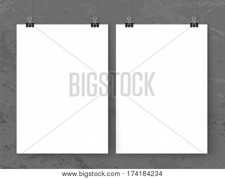Posters Binder Clips Mock Up Vertical Grey Grunge Wall 1