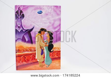 Hai, Ukraine - February 28, 2017: Animated Disney Movies Cartoon Production Book Aladdin, Return Of
