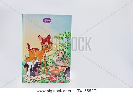 Hai, Ukraine - February 28, 2017: Animated Disney Movies Cartoon Production Book Bambi On White Back