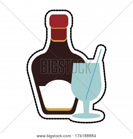 tinted glass liquor bottle icon image vector illustration design