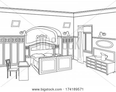 Bedroom furniture. Room interior outline sketch. Vintage style
