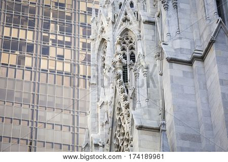 NEW YORK - JAN 13 2017: NYPD Det. Steven McDonald funeral procession and service at St Patricks Cathedral, 5th Avenue, Manhattan - Close up of St Patricks Cathedral.