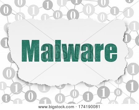 Safety concept: Painted green text Malware on Torn Paper background with Scheme Of Binary Code