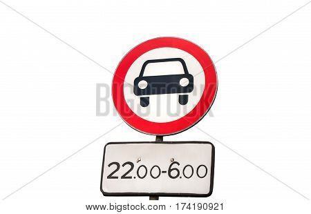 European Unsuitable For Car Warning Road Sign, Isolated