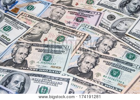 Set Of American Dollar Bills As Background
