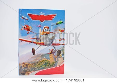 Hai, Ukraine - February 28, 2017: Animated Disney Movies Cartoon Production Book Planes On White Bac
