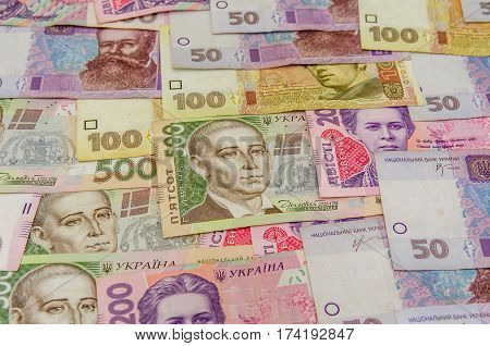 banknotes from Ukraine of background close up