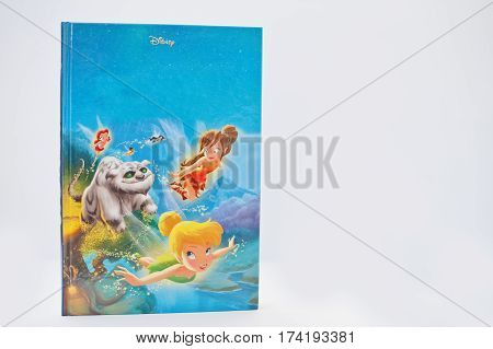 Hai, Ukraine - February 28, 2017: Animated Disney Movies Cartoon Production Book Tinker Bell And The