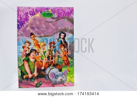 Hai, Ukraine - February 28, 2017: Animated Disney Movies Cartoon Production Book Tinkerbell Fairies
