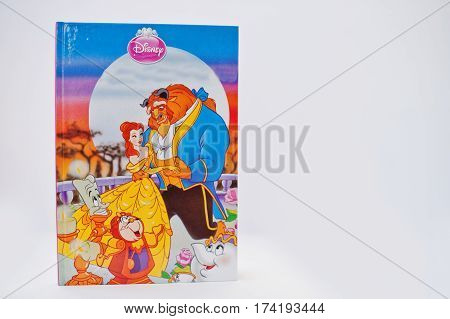 Hai, Ukraine - February 28, 2017: Animated Disney Movies Cartoon Production Book Beauty And The Beas