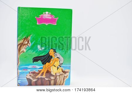 Hai, Ukraine - February 28, 2017: Animated Disney Movies Cartoon Production Book Pocahontas On White
