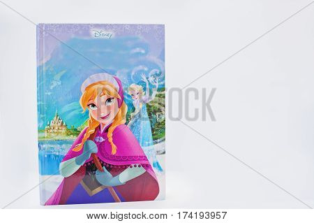 Hai, Ukraine - February 28, 2017: Animated Disney Movies Cartoon Production Book  Frozen On White Ba