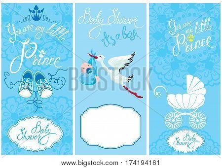 Baby boy Shower Set. Party Decoration Scrapbook invitation card. Calligraphic text You are my little prince frames. Vintage elements for invitation card flyer etc.