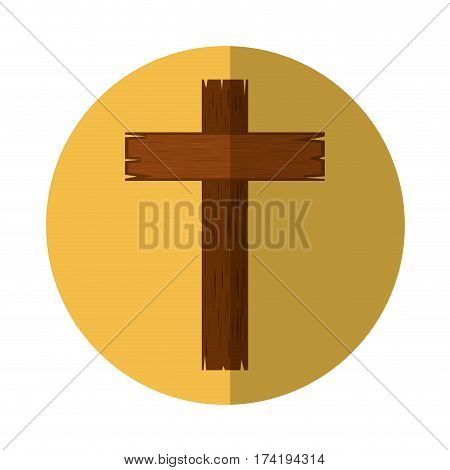 wooden cross religious icon vector illustration design