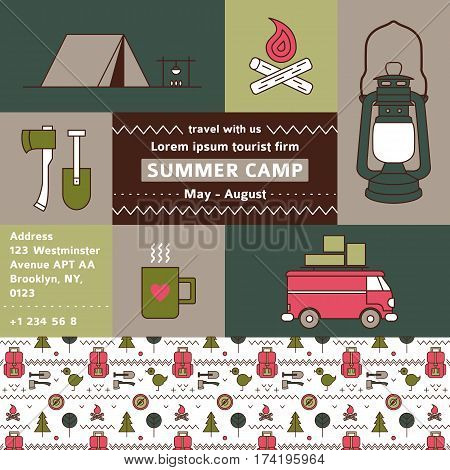 Tourist firm promotional poster. Summer camp. Camping banner. Vector flat poster about trekking, walking, hiking, car traveling