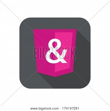 web development shield sign isolated ampersand icon on grey badge with long shadow on white background