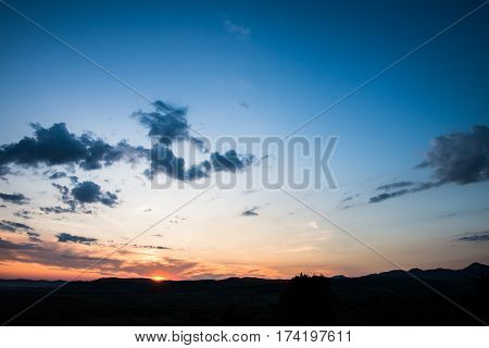Clouds and sky at sunset time, near Deva,Romania