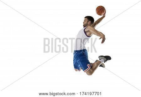 professional basketball player isolated on white with ball in white and blue form in jump