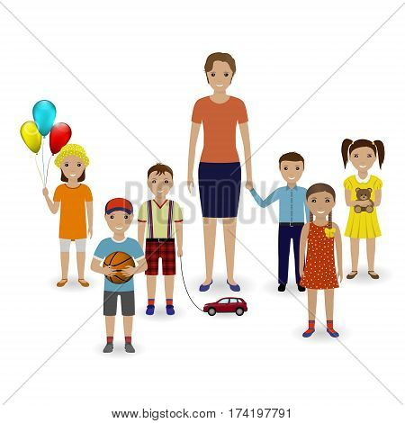 Group of children with toys and kindergarten teacher standing together on a white background. Preschool education concept. Vector illustration.