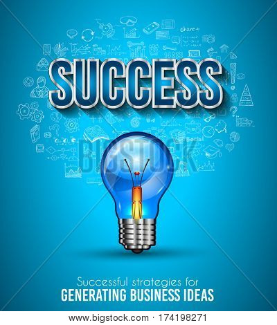Business Success template with hand drawn sketches and a lot of infographic design elements and mockups. Ideal forTeamwork ideas, branstorming sessions and generic business plan presentationsl.