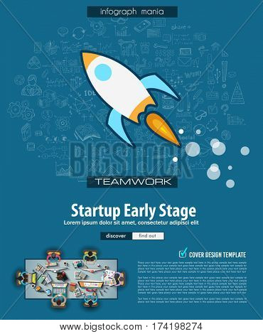 Startup Landing Page Brochure template with hand drawn sketches and a lot of infographic design elements and mockups. Teamwork ideas, branstorming sessions and generic business plan presentationsl.