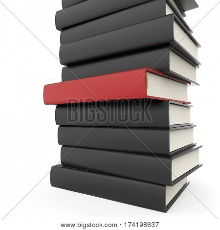 Stack of black books with standing out red one isolated on white background. 3D rendering.