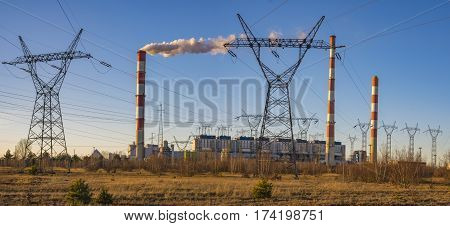 Gryfino Poland-February 2017: Classic coal plant coal-fired power plant