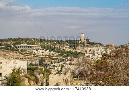 View from wall of the Old City of Jerusalem BYU Center and Augusta Victoria Hospital on Mount Scopus in Jerusalem Israel