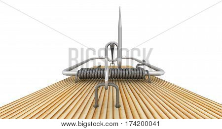 Mousetrap on white background. Isolated. 3D Illustration